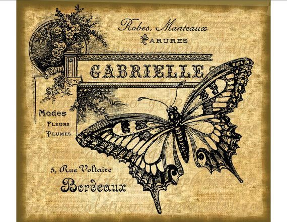 French Ephemera | French ephemera butterfly digital download by ... | Vintage clip art