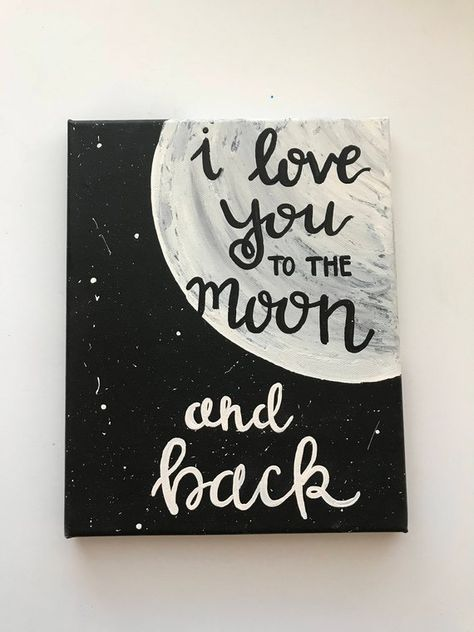 I love you to the moon and back hand-lettered, hand-painted sign, wall art, love decor, Christmas gi