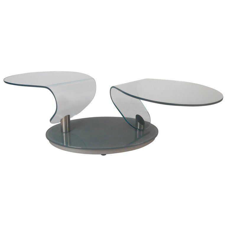 Glass Swivel Coffee Table.Mid Century Modern Free Form Swivel Glass Top Coffee Table In 2019