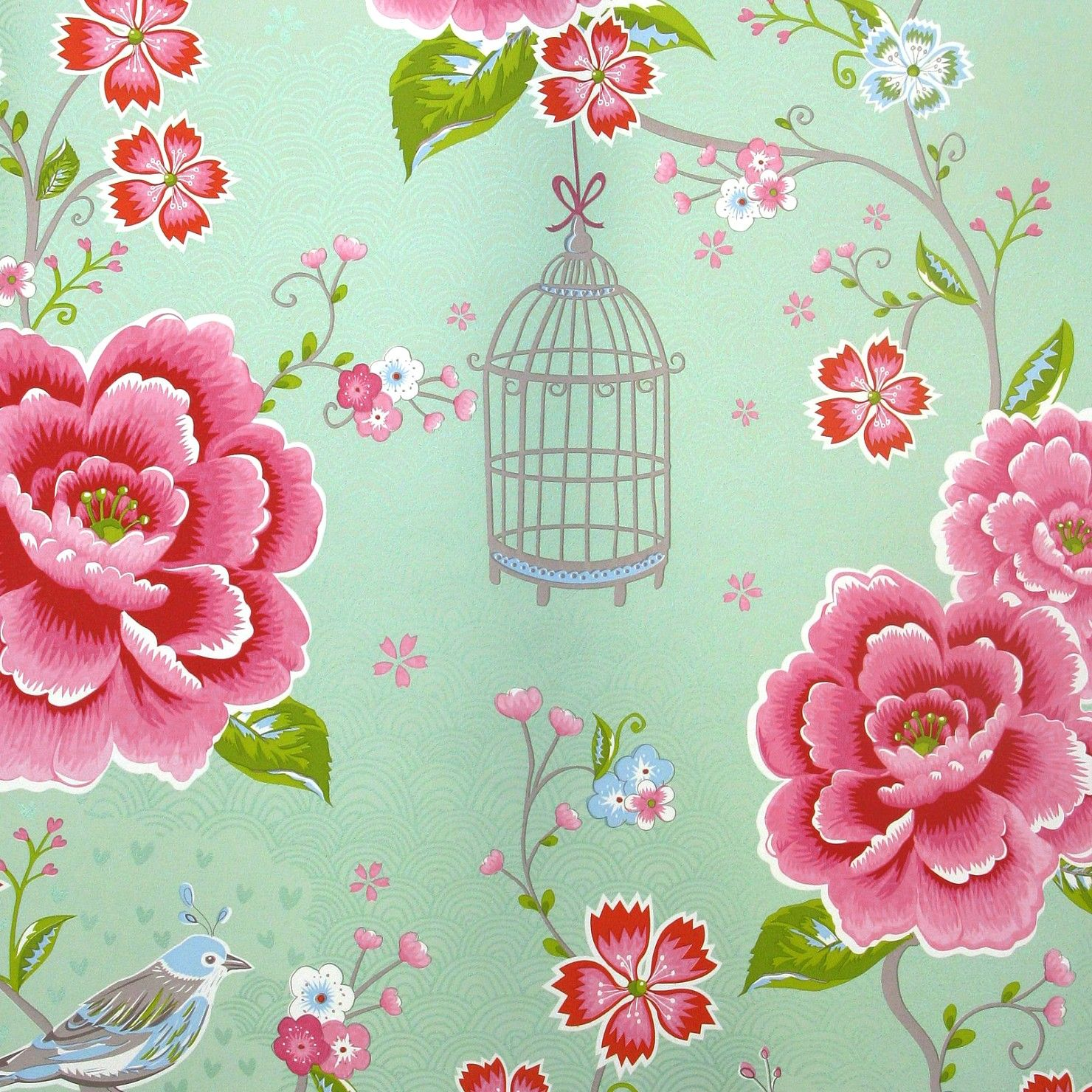 "Lovely mint colored wallpaper ""Birds in Paradise green"" bij Pip Studio mint walls pink accessories"