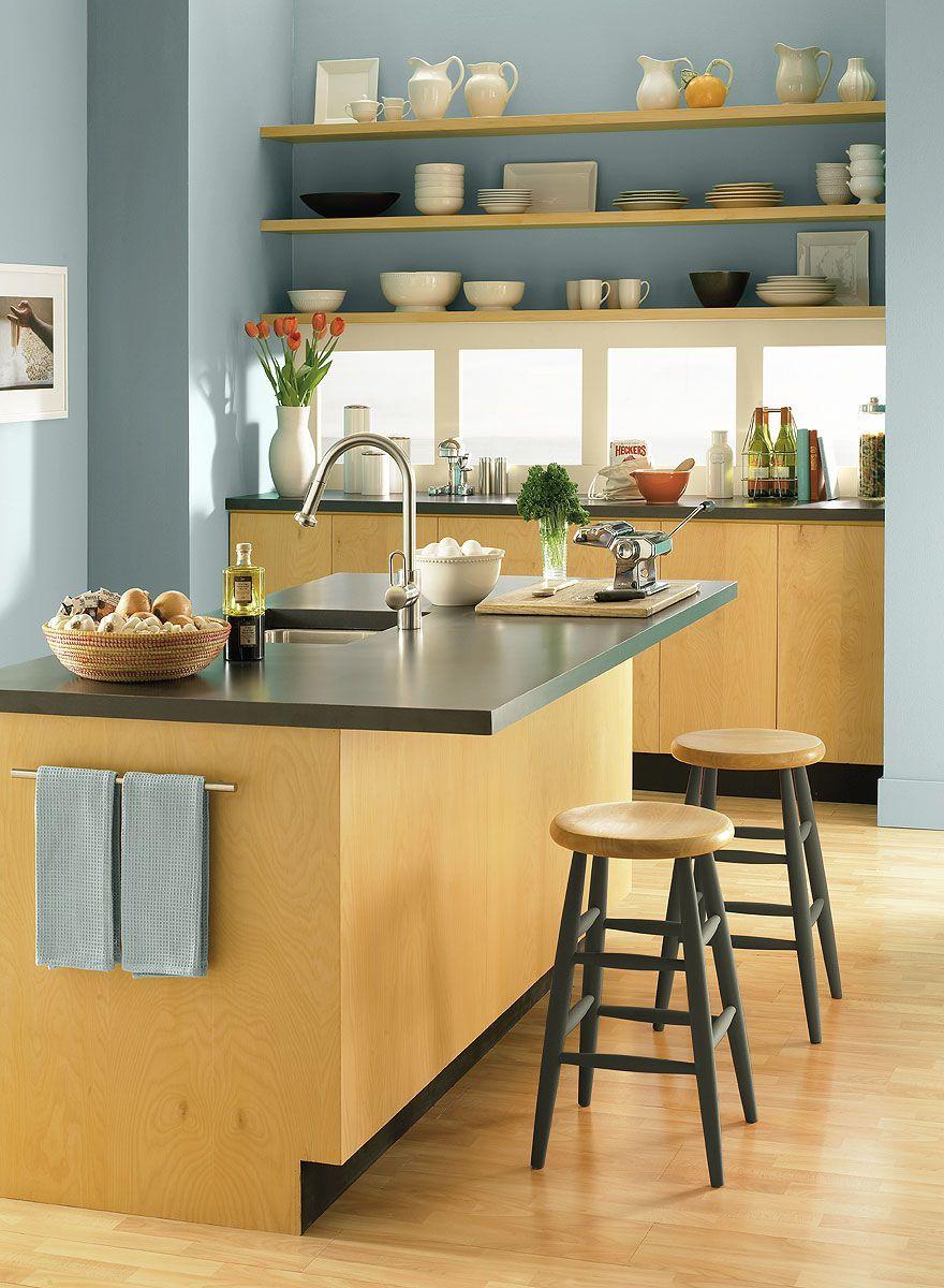 contemporary kitchen colors. Crisp, Contemporary Kitchen Space! Wall Color: Santorini Blue - Window Trim Cream Silk Accent Wilmington Tan Colors I