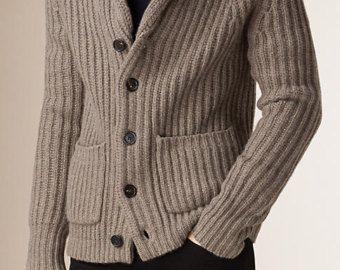 72dea4020 HECHO para los hombres la mano cardigan tejido cuello alto suéter ...