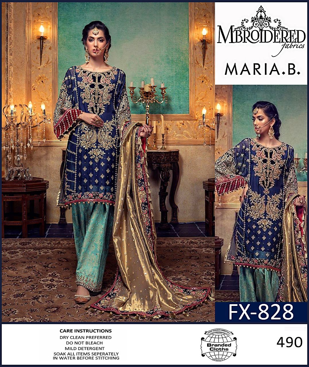 91840292a27dc Brand Maria.B Available in lawn Master Replica fabrics 3pc!! Front full  heavy Embroidered panel Chiffon dupatta Trouser printed For Order:Whatapp  ...