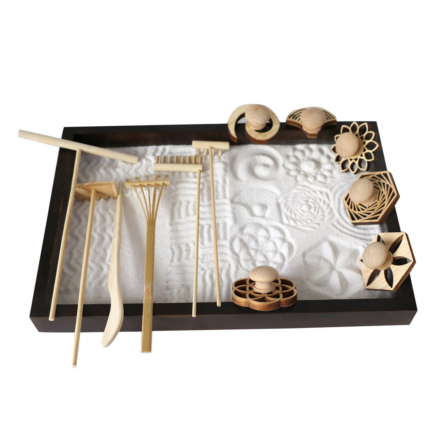 Excited To Share This Item From My Etsy Shop Mini Zen Garden Rakes Sand Stamps Set Of 12 For Office Tabletop In 2020 Zen Garden Mini Zen Garden Japanese Sand Garden