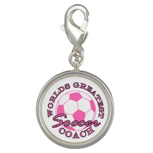 Soccer Futbol Sports Worlds Greatest Coach Pink Charms  This funny design for the soccer - futbol ball coach on your gift list features a pink ball with pink and black text Worlds Greatest Soccer Coach. Great gift for a player, fan or coach