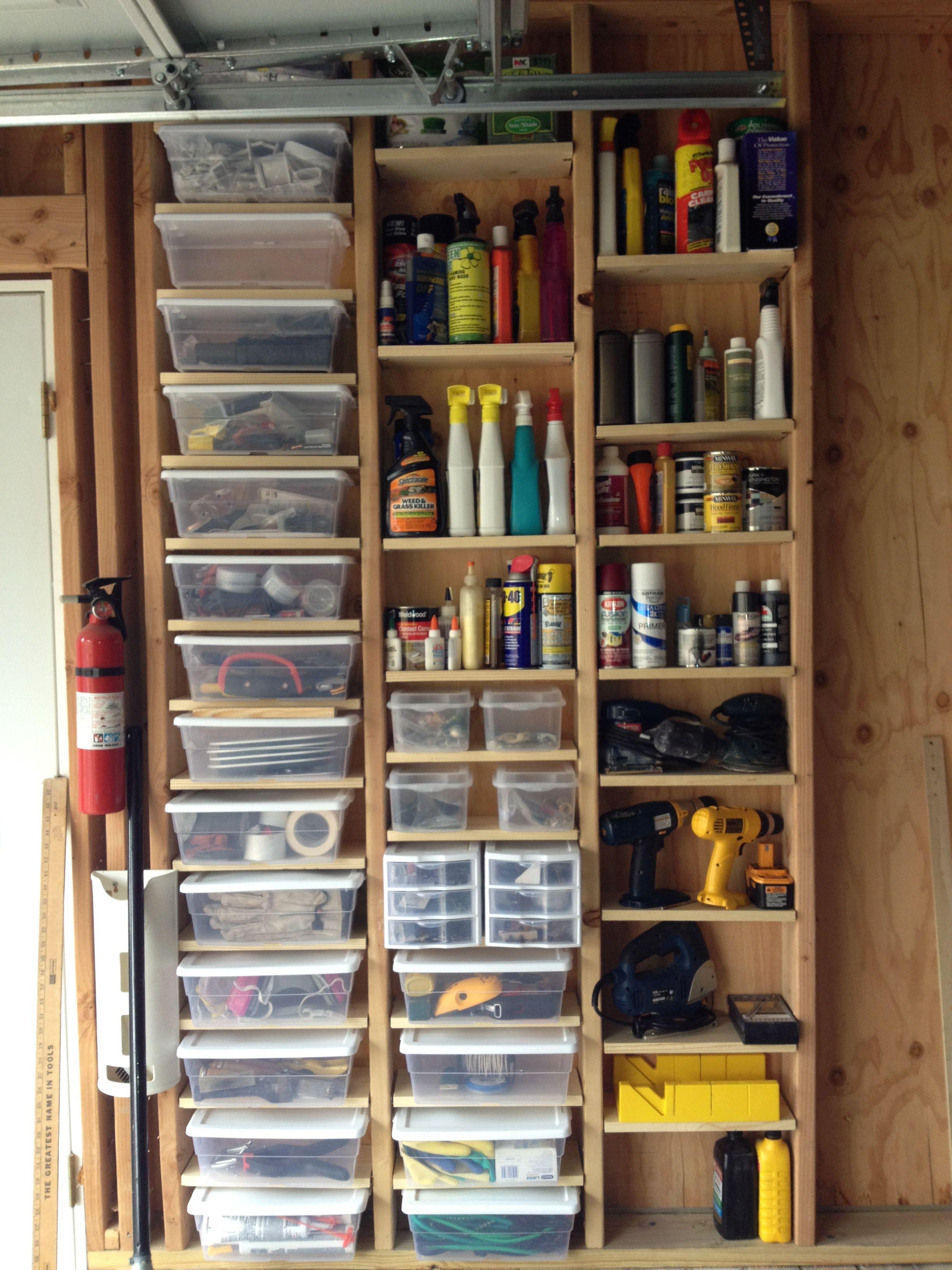 Garage Storage Using Adjustable Shelving In Space Between
