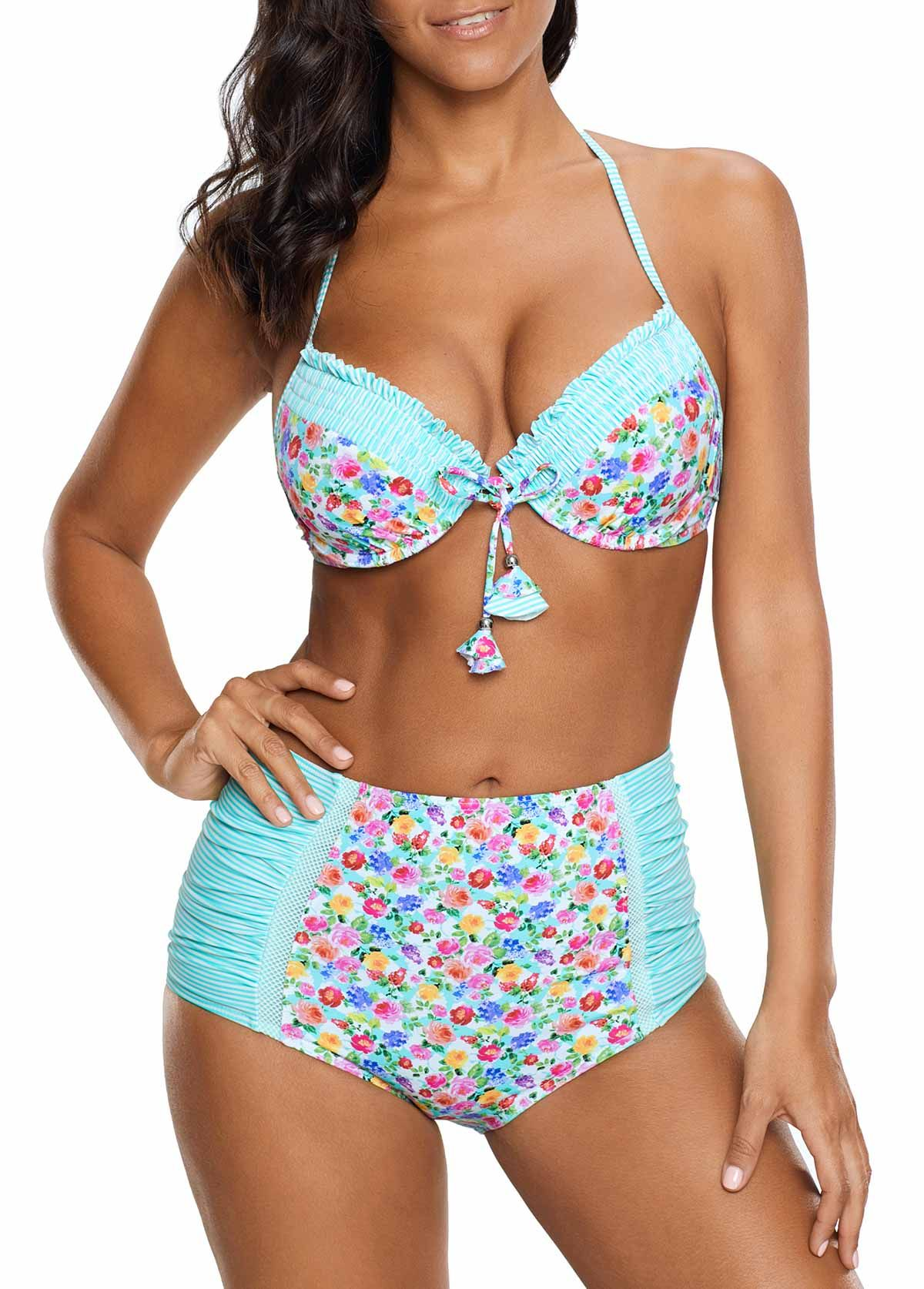 2dfd461de278a Floral Print Halter Neck Two Piece Swimwear