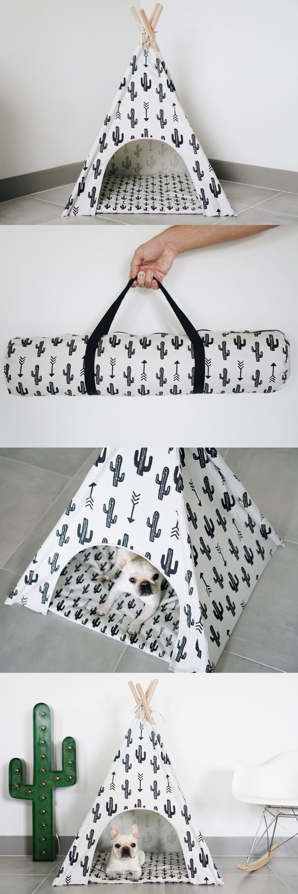 Pipolli Cactus Pet Teepee: perfect escape for your dog and are a charming addition to any room.