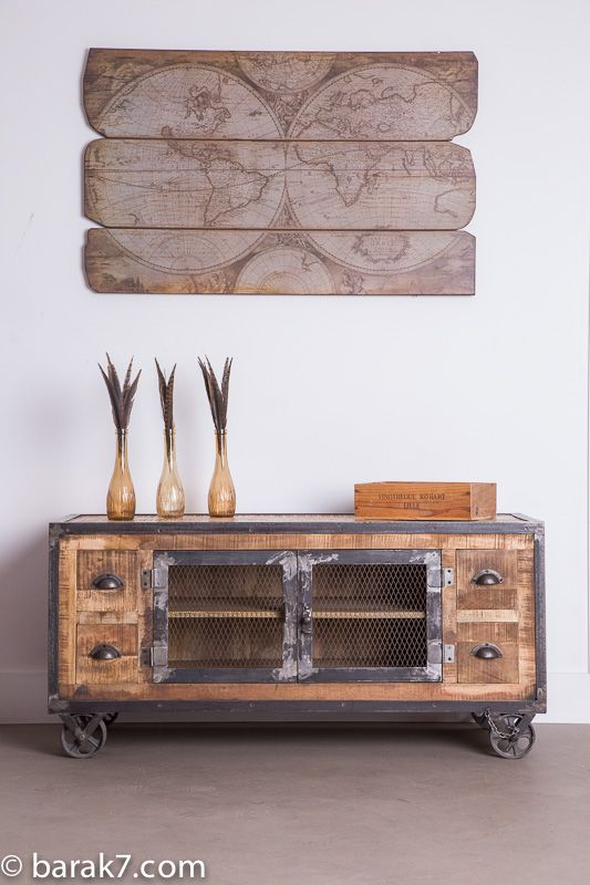 Industrial tv stand with 4 drawers and antique finish - Meuble tv console ...