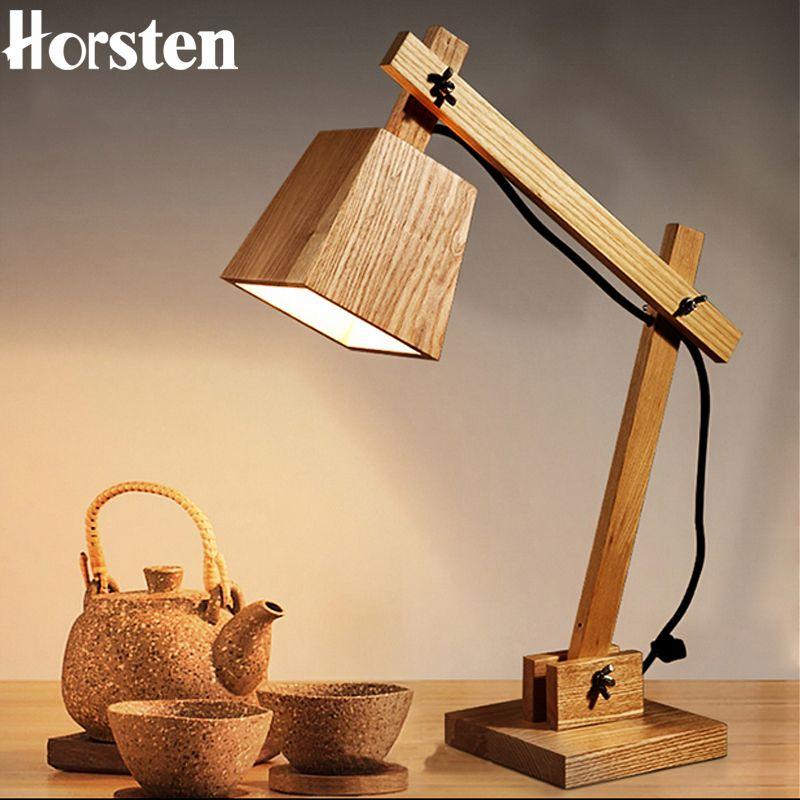 Horsten creative art deco wooden table lamp desk lamp