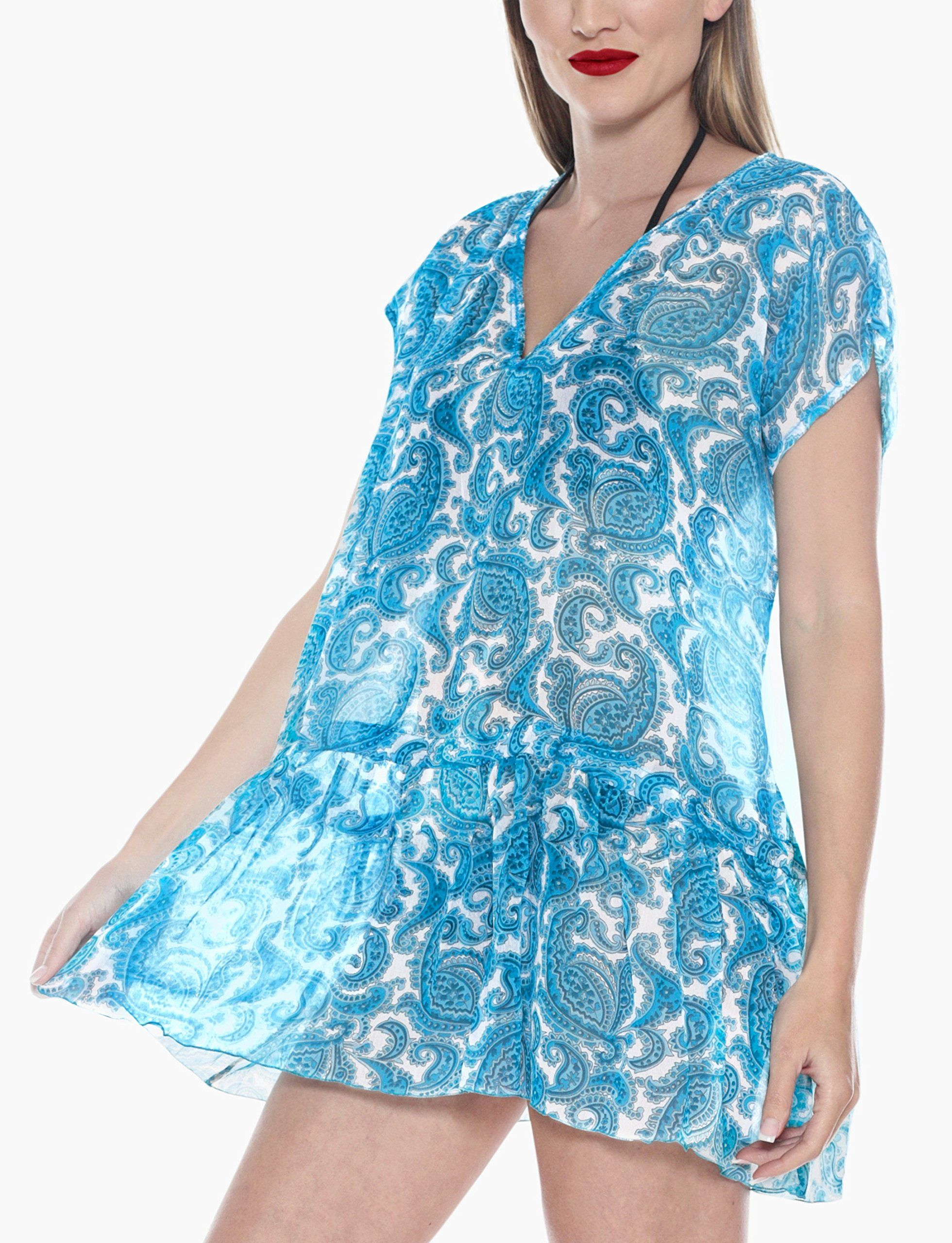 3f05be2226 Women Maternity Clothes - La Leela Sheer Chiffon Allover Printed Beach  Kaftan Swim Cover up BlueLarge >>> Learn more at the image web link.