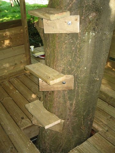 Tree house steps carpentry projects tree houses for How to make a treehouse step by step