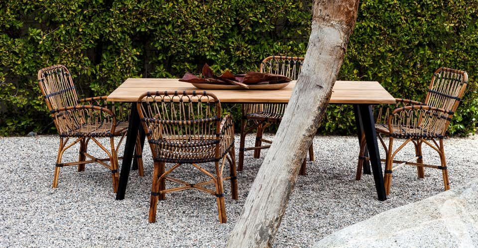Organic Lines Make The Lisse Table A Chic Place For Casual Gatherings Its Thick Irregular Scandinavian Outdoor Furniture Teak Outdoor Used Outdoor Furniture