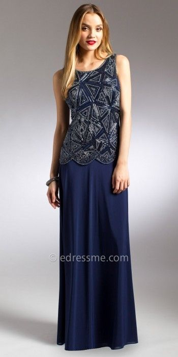 Camille La Vie Scalloped Mock Two Piece Evening Dress | \