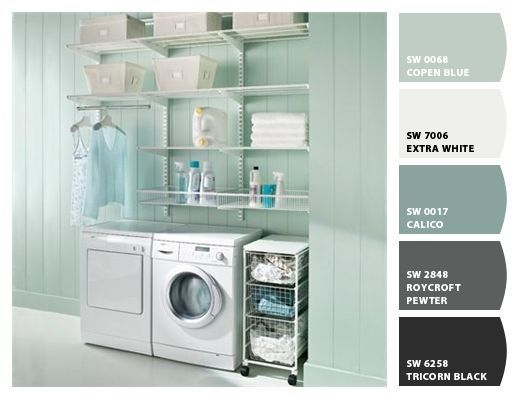 Copen Blue By Sherwin Williams Color Palettes Pinterest Modern Laundry Rooms Laundry Room Decor Garage Laundry