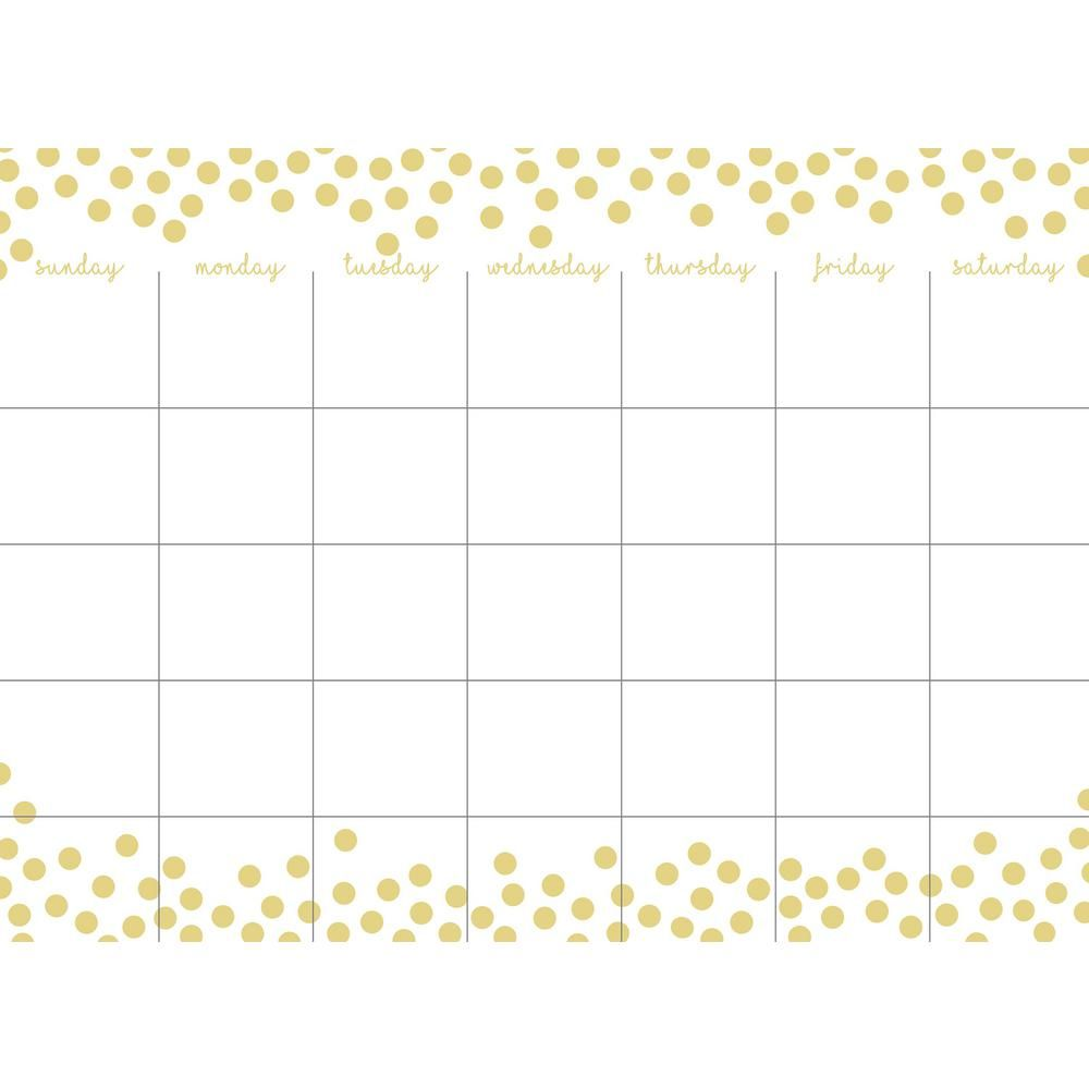 Wall Pops Metallic Confetti Dots Monthly Calendar WPE2962