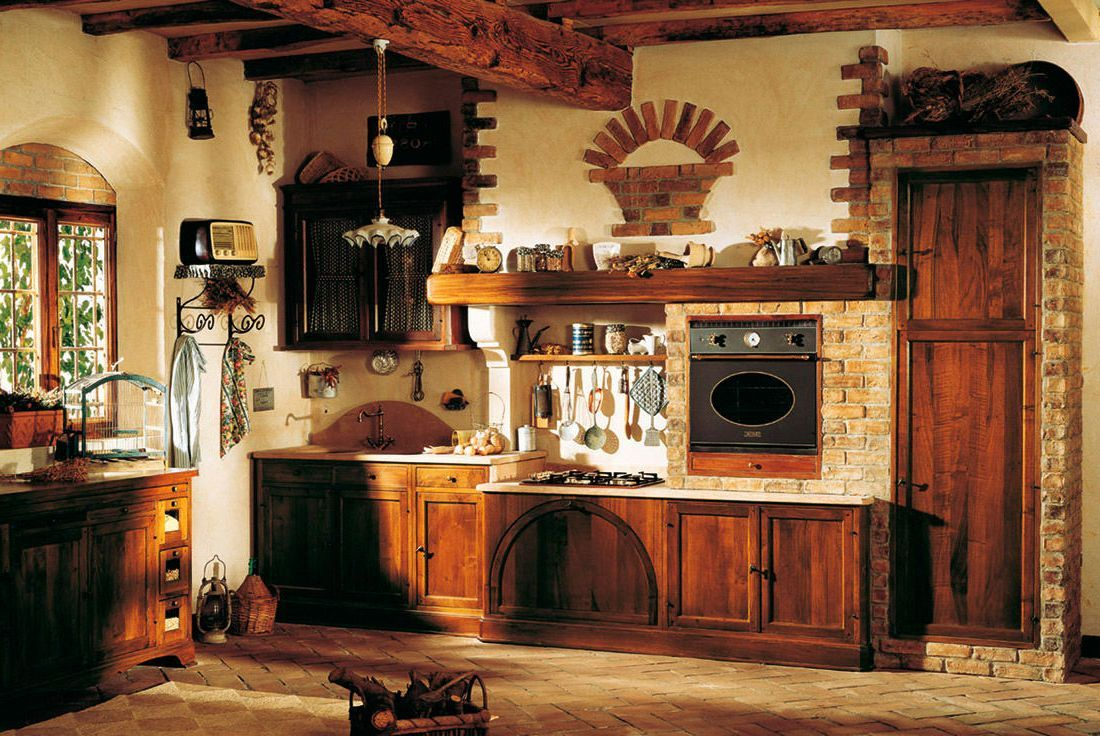 Kitchen , Extraordinary Rustic Italian Kitchens In Small Spaces : Stylish  Kitchen With Old Rustic Italian
