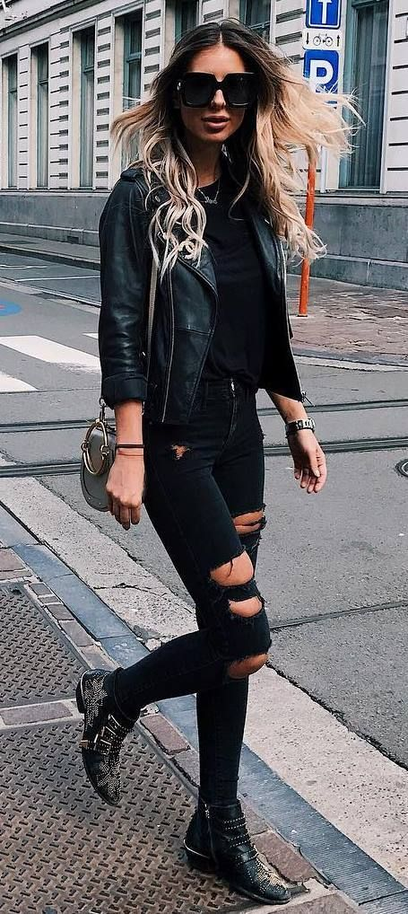 13a086ed01 all black everything   biker jacket + sweater + rips + bag + boots. Skulls