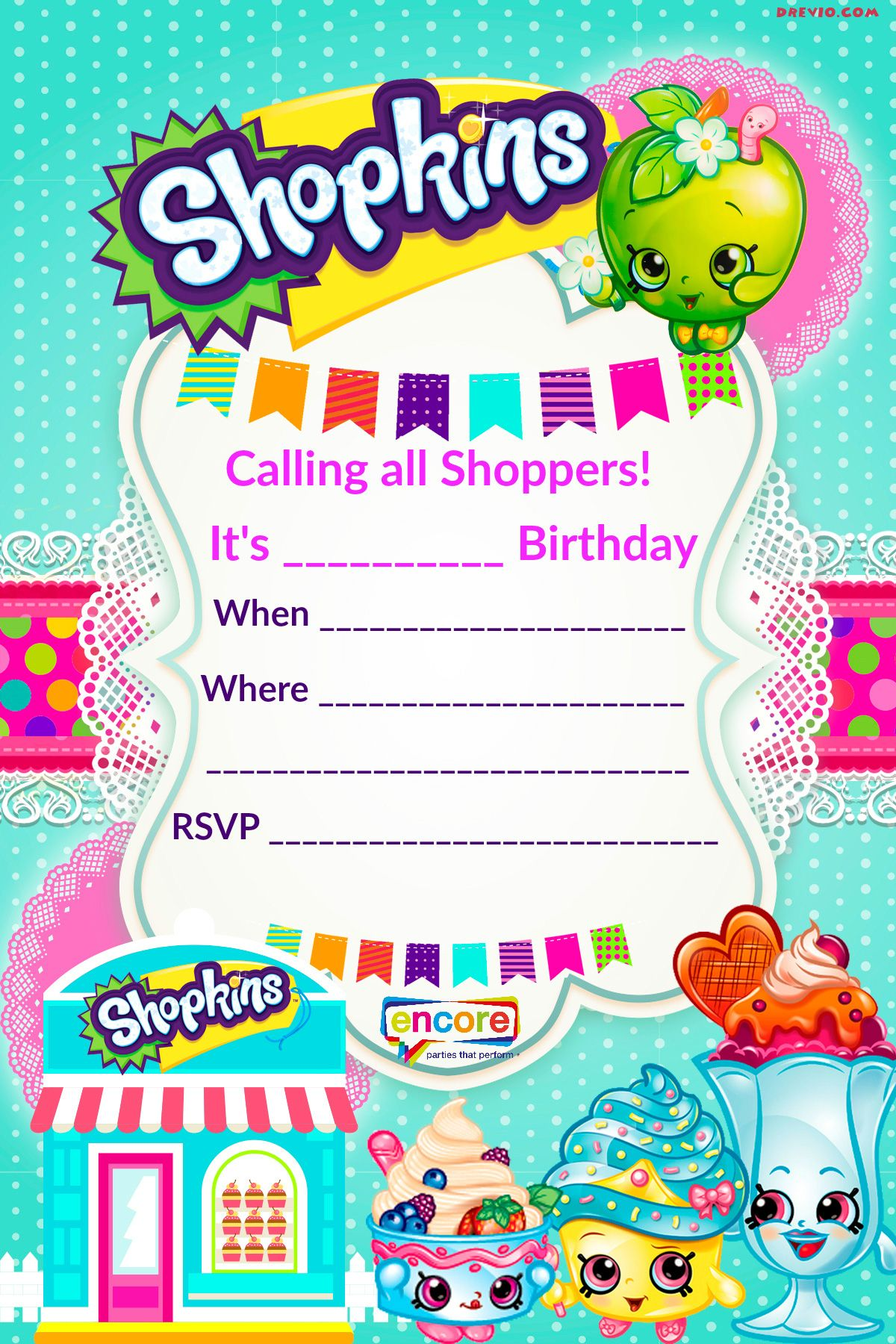 Updated FREE Printable Shopkins Birthday Invitation Template - Blank shopkins birthday invitations