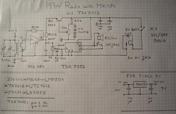 Schematic Circuit Diagram of Andrei Lazarescu's MK484 TRF ... on crystal radio schematic, transistor radio schematic, am radio circuit schematic,