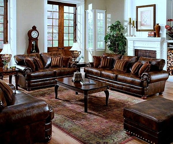 Derby Shire Leather Living Room Set Sofa Love Seat