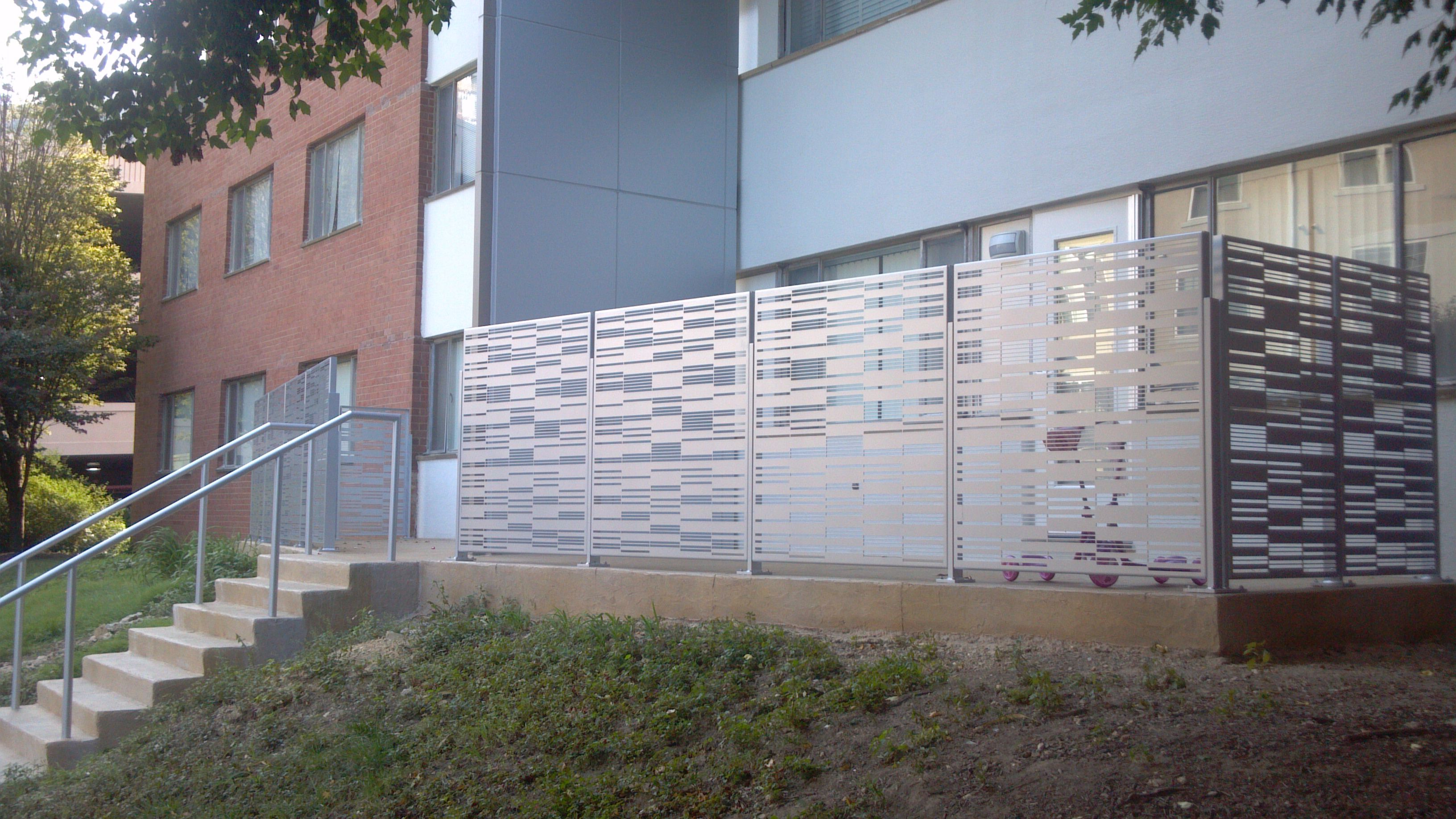 These terrace privacy screens provide visual screening for Terrace fence