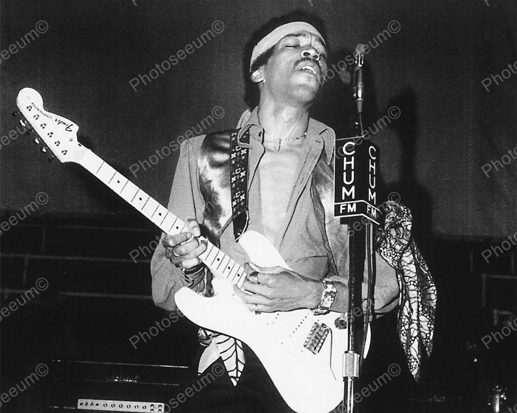 Jimi HENDRIX con chitarra B/&W 8X10 Fotografia