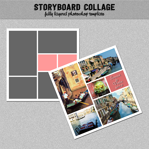 Storyboard Photo Collage Template Photoshop Template 12x12 Nr 06 Digitalbazaar Graphics On Artfi Photo Collage Template Collage Template Diy Photo Book