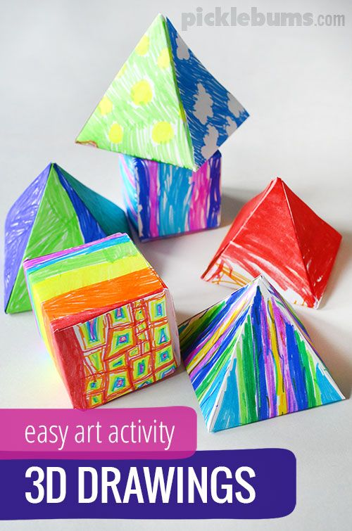 Try these simple 3D drawings for a quick and easy art and maths activity!