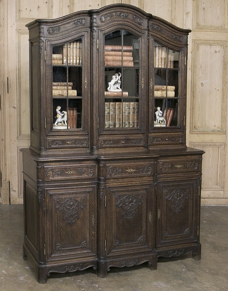 19th Century Country French Regence Hand Carved Oak Buffet/BookcaseCirca 1880sMeasures 84H x 59.5W x 22D