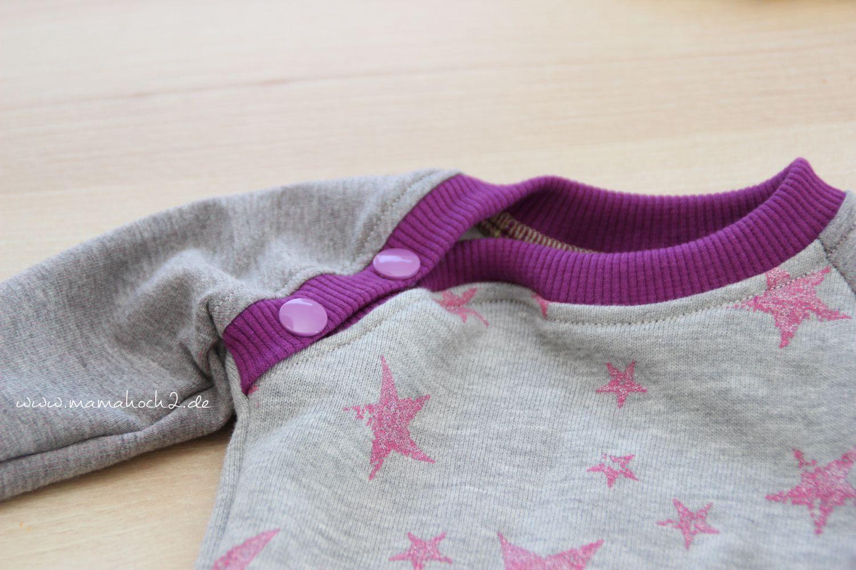 Nähtutorial: schnelle Knopfleiste beim Raglanshirt am Bündchen #babyshirts