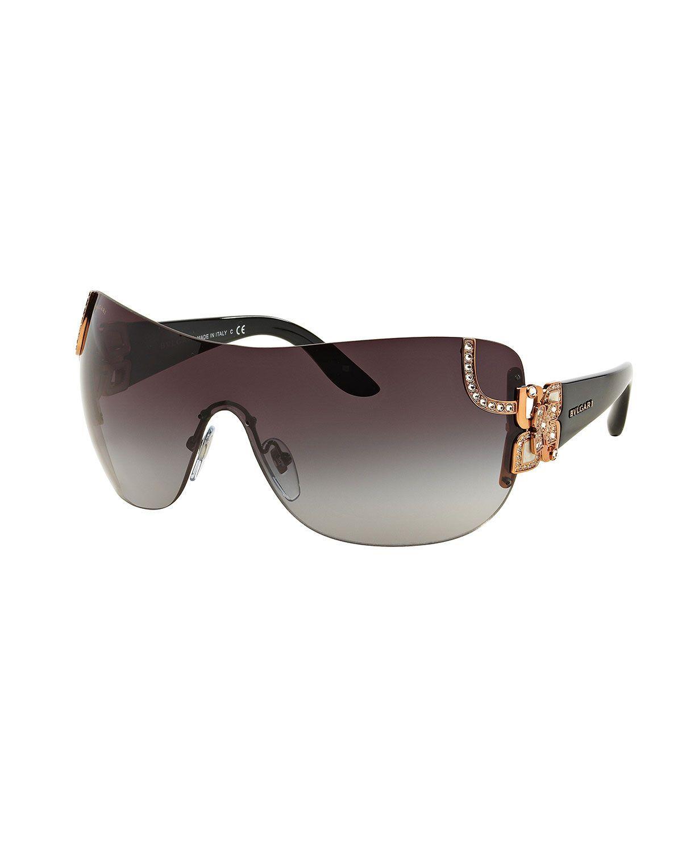 BVLGARI Floral-Trim Shield Sunglasses | Bvlgari, Crystal flower and ...