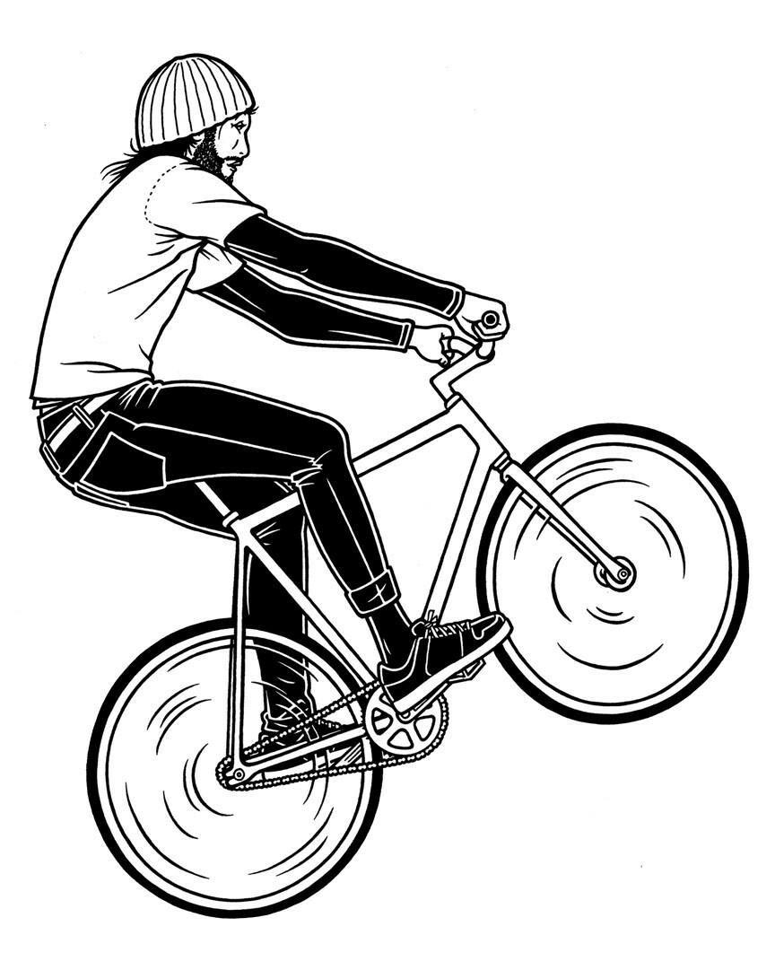 Рисунок велосипедистов карандашом