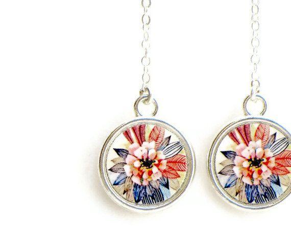 Feather Flower Earrings