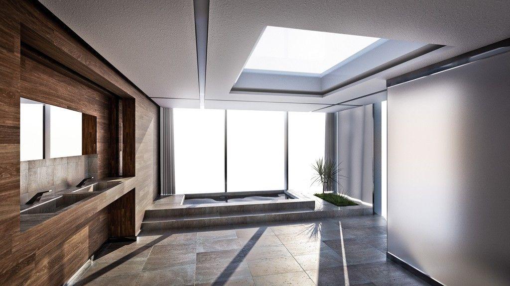 Fotorealistische Innenraumvisualisierung eines Badezimmers Der - sichtschutz fur dusche