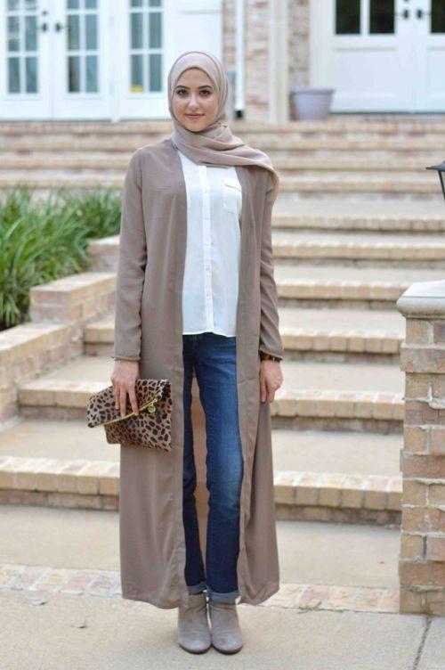 long maxi cardigan, Modest street hijab fashion http://www ...