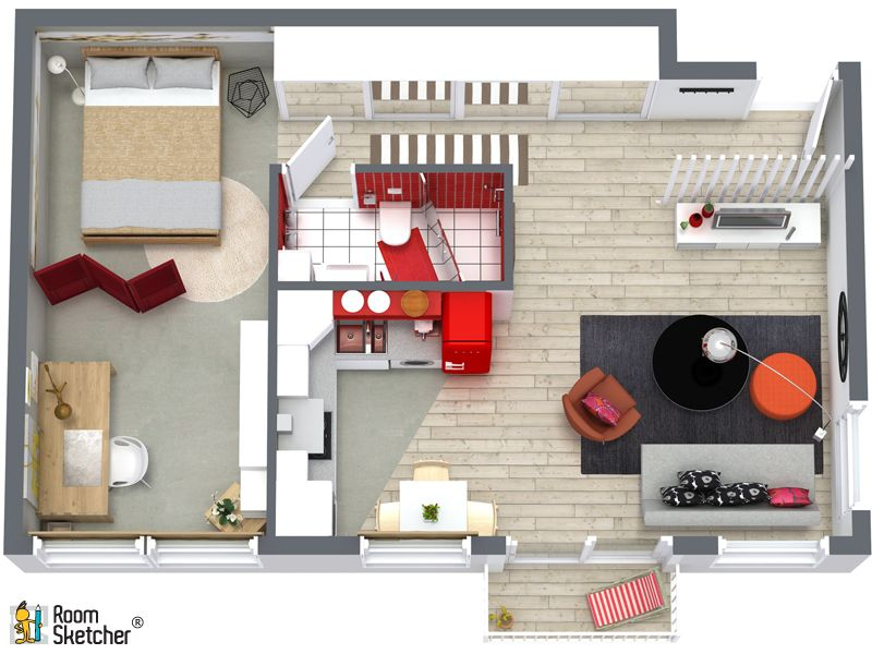 Create Beautiful 3d Floor Plans Online Bedroom Flooring One Bedroom House Bedroom House Plans