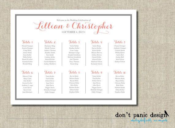 Printable Seating Chart Whimsical Coral Gray by DontPanicDesign - printable seating charts