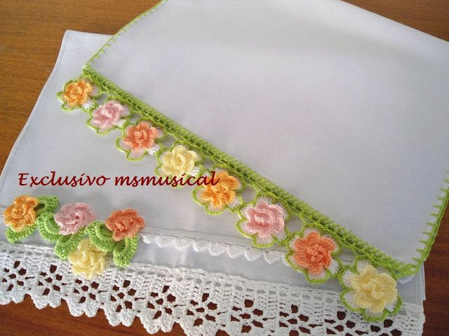 Pastel Roses Crochet Lace Trim Edging Border - couldn't find the pattern.