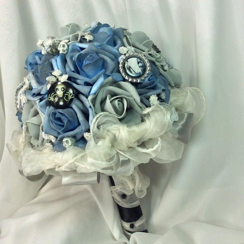 Corpse BRIDAL BOUQUET Tim Burton Wedding Bouquet Grayish Pink Peonies and Twigs