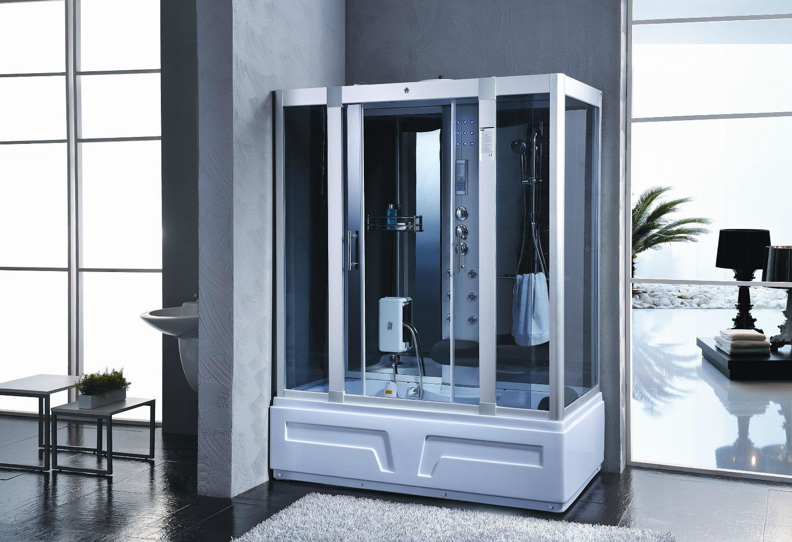 1600x850 Steam Shower Room Enclosure Cabin With Jacuzzi Whirlpool ...