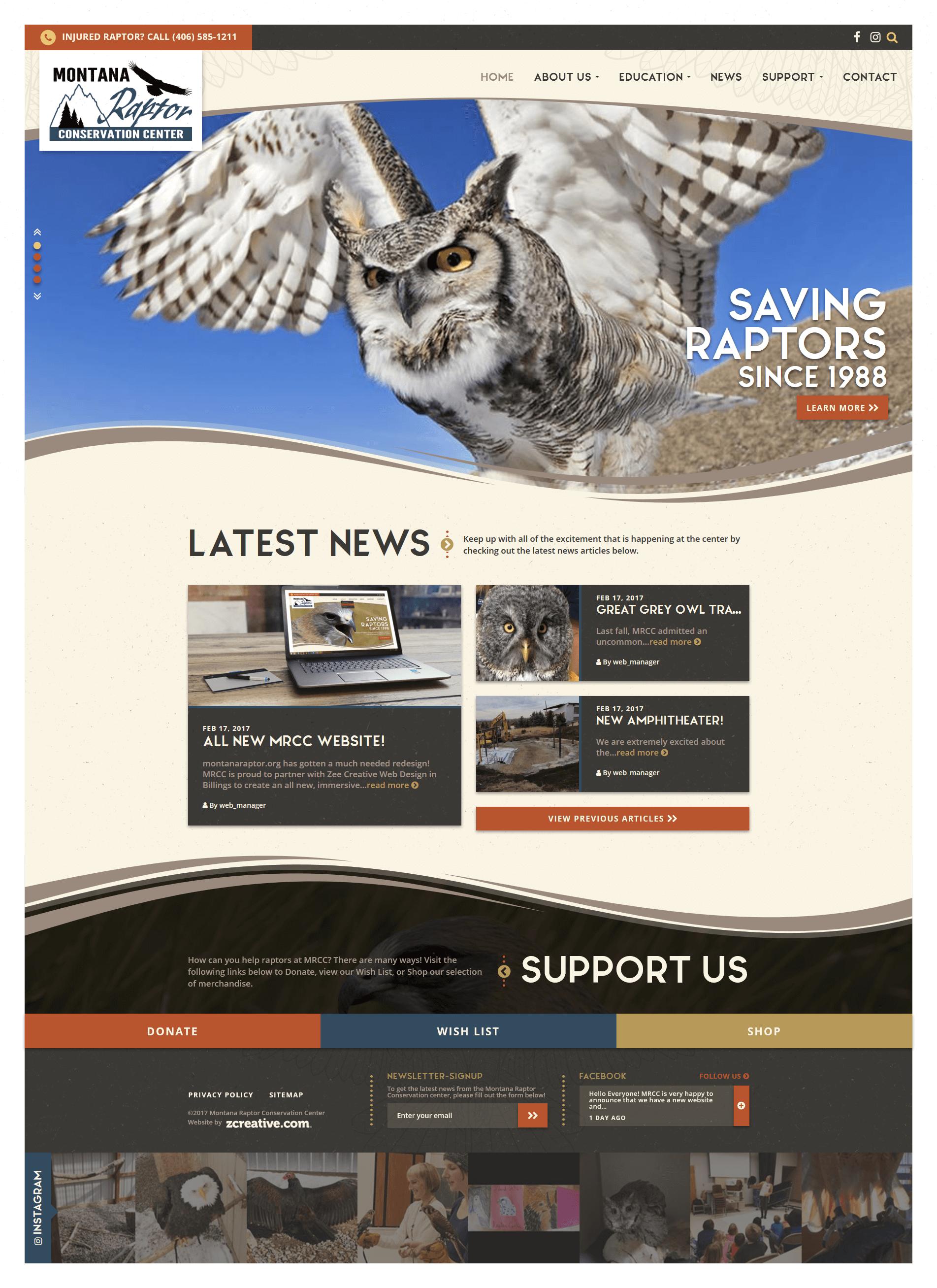 Montana Raptor Conservation Center Wordpress Website Design Creative Web Design Conservation