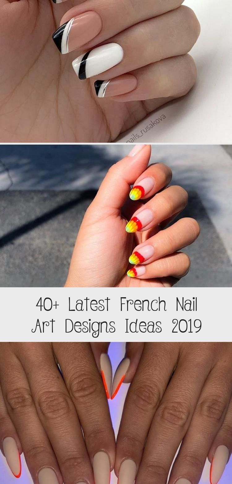 40+ Latest French Nail Art Designs Ideas 2019 - MakeUp -  The French nail styles that were sorted out a few days ago were more formal, and the overall design - #Art #Designs #fadedfrenchnails #French #frenchnails #frenchnailsombre #frenchnailssquare #Ideas #LATEST #makeUp #Nail #nailsshining #shortfakenails