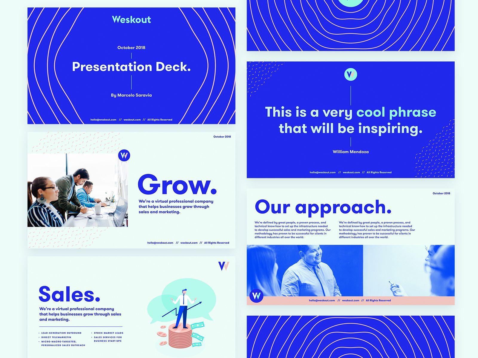 Weskout Pitch Deck Presentation Deck Workbook Design Presentation Design Layout