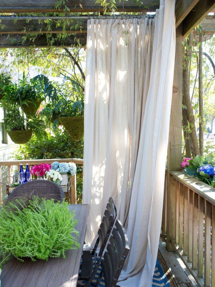 Sichtschutz Garten selber bauen Vorhänge weiß Terrasse Garten
