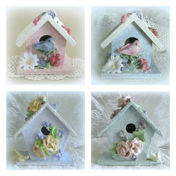Baby Nursery Bird Decor Wood Birdhouse Room Clay Flower Ornament