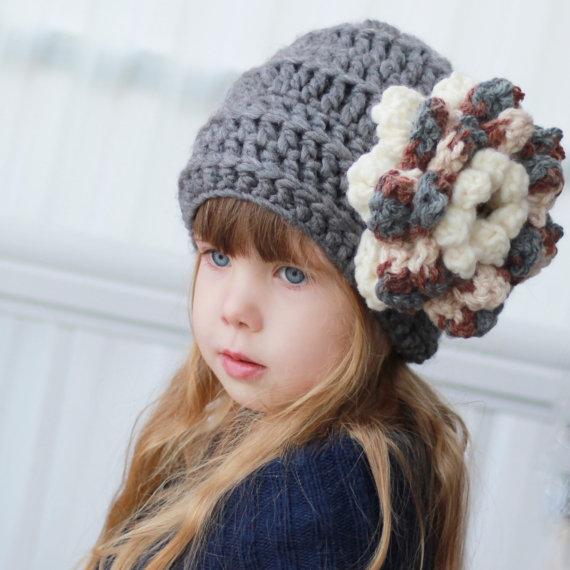 Crochet pattern, Patron de crochet –Ines Slouchy Beanie Hat Bonnet ...