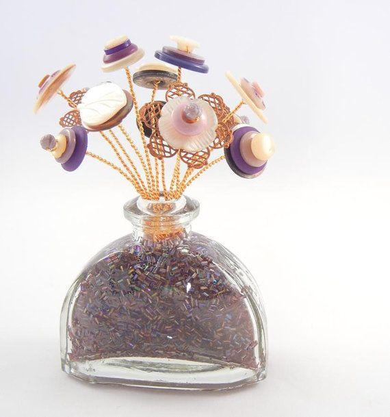 30 OFF PRECIOUS PURPLE Vintage Button Bloom by ZoeGraceBlooms, $22.00