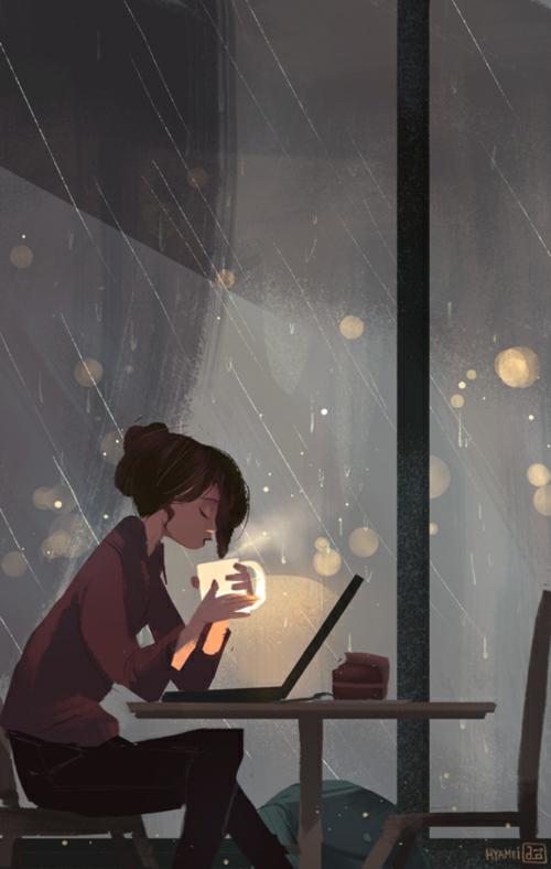 Wallpapers Girl Rain Window We Heart It Girl Rain And Coffee Art Illustration Drawings