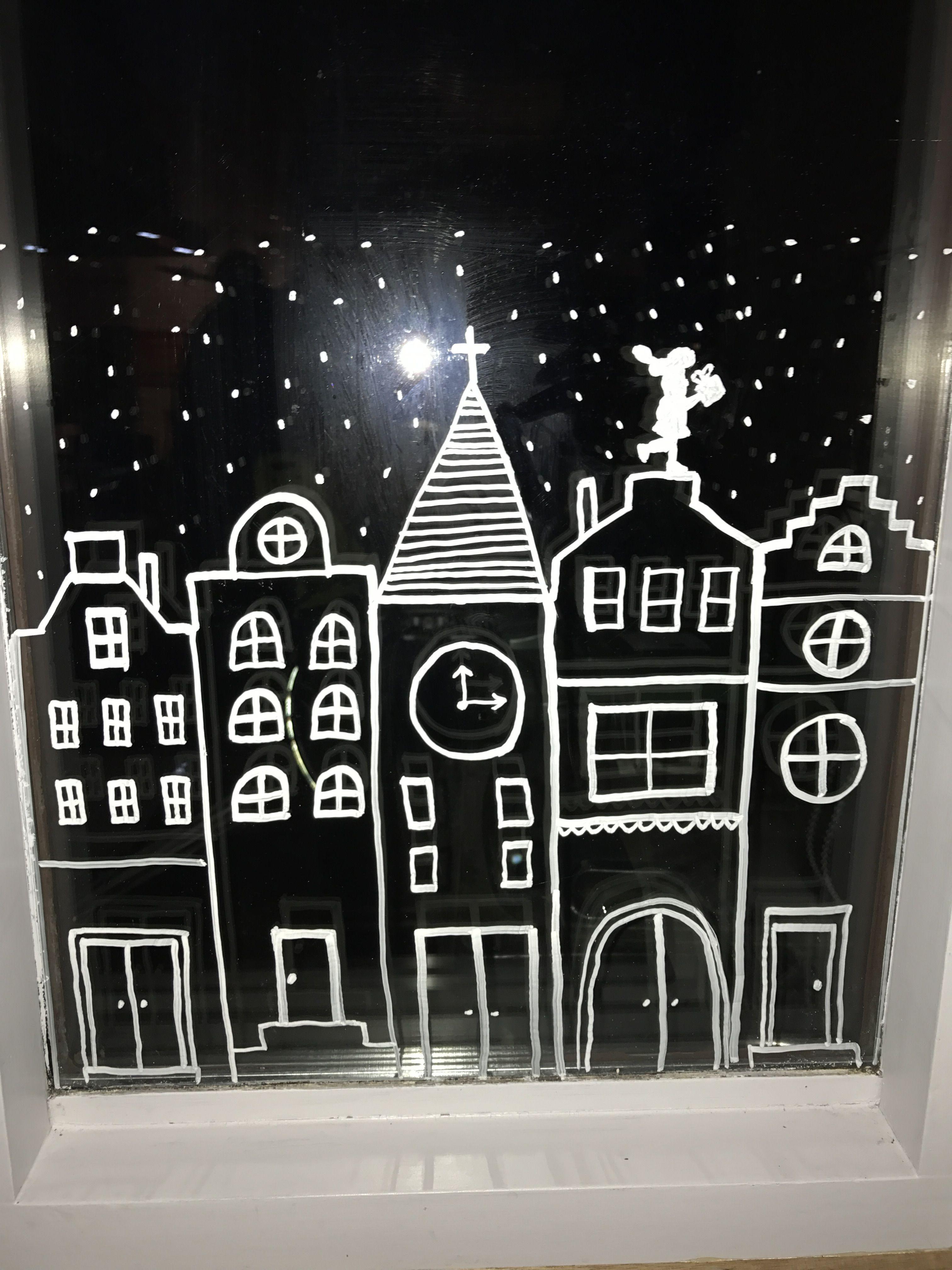 Raamdecoratie sint sinterklaas piet krijtstift for Fensterdeko winter